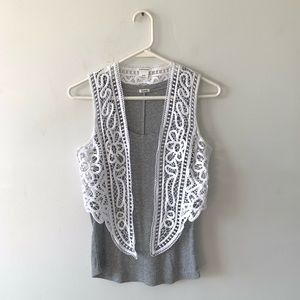 Club Monaco Lasercut Crochet Lace Boho Vest Top